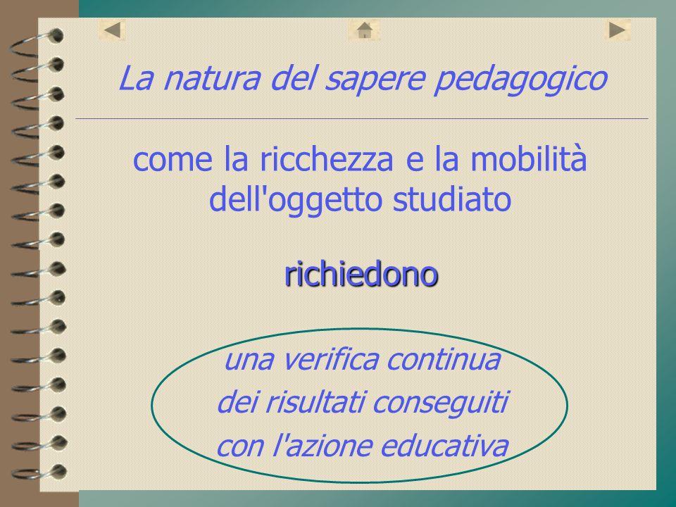 La natura del sapere pedagogico come la ricchezza e la mobilità dell'oggetto studiato richiedono una verifica continua dei risultati conseguiti con l'