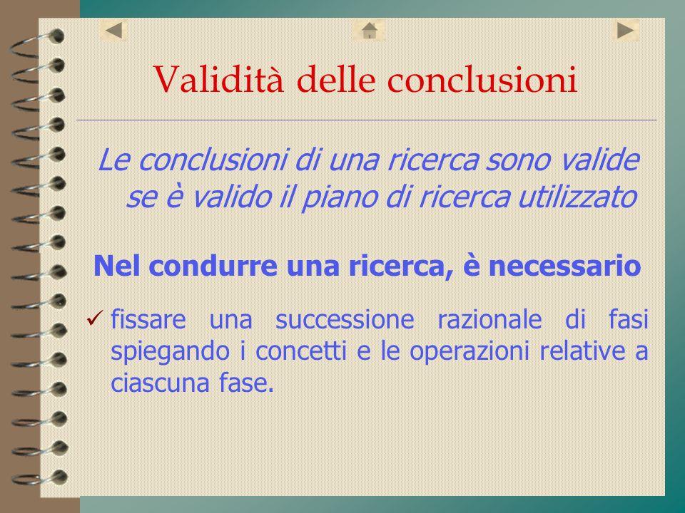 Validità delle conclusioni Le conclusioni di una ricerca sono valide se è valido il piano di ricerca utilizzato Nel condurre una ricerca, è necessario