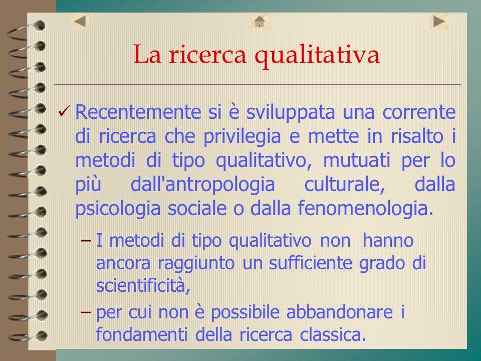 La ricerca qualitativa Recentemente si è sviluppata una corrente di ricerca che privilegia e mette in risalto i metodi di tipo qualitativo, mutuati pe