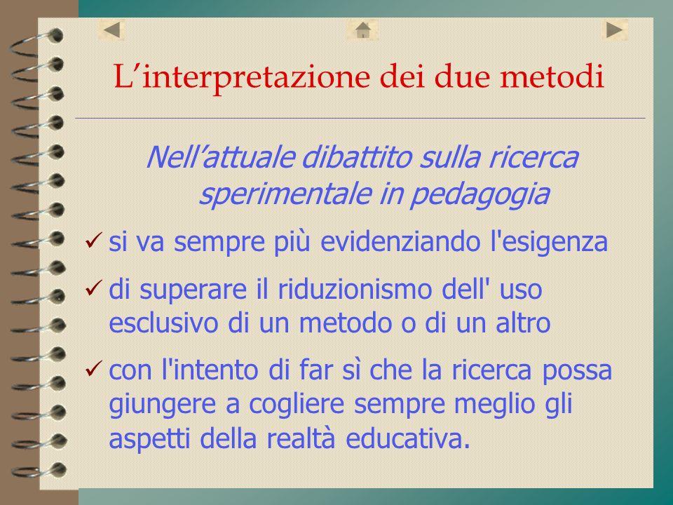 Linterpretazione dei due metodi Nellattuale dibattito sulla ricerca sperimentale in pedagogia si va sempre più evidenziando l'esigenza di superare il