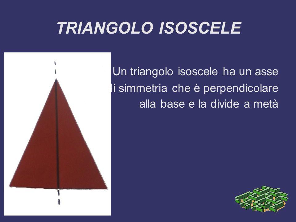 TRIANGOLO ISOSCELE Un triangolo isoscele ha un asse di simmetria che è perpendicolare alla base e la divide a metà