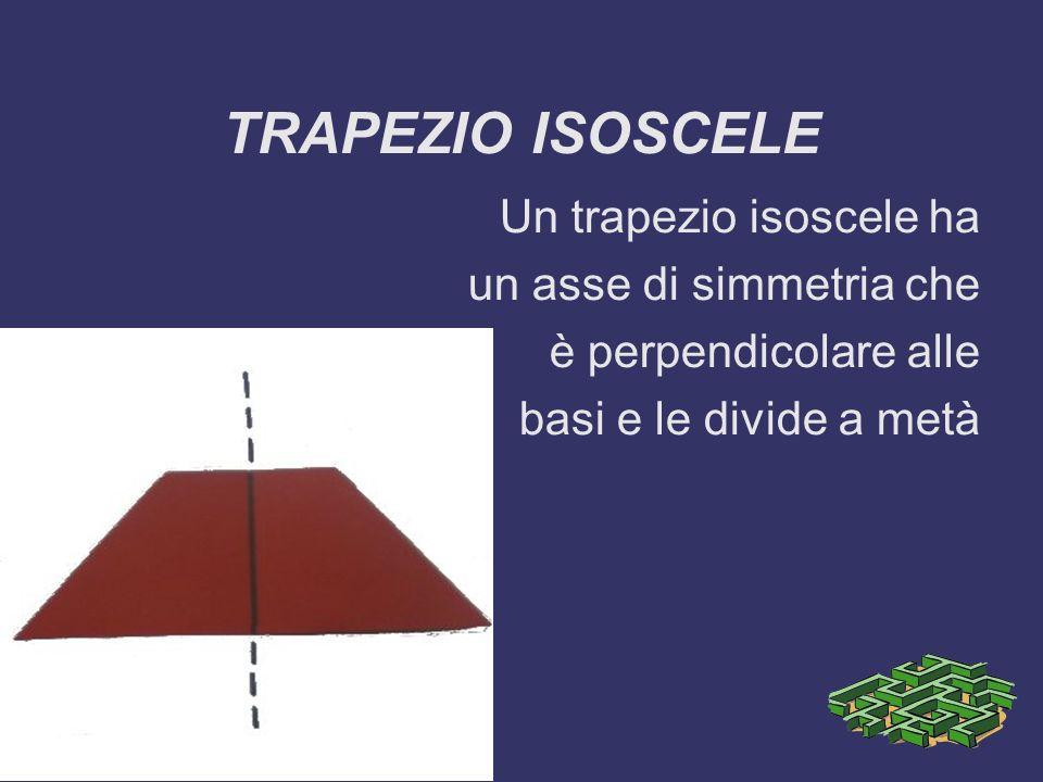 TRAPEZIO ISOSCELE Un trapezio isoscele ha un asse di simmetria che è perpendicolare alle basi e le divide a metà