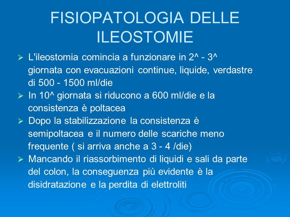 FISIOPATOLOGIA DELLE ILEOSTOMIE L'ileostomia comincia a funzionare in 2^ - 3^ giornata con evacuazioni continue, liquide, verdastre di 500 - 1500 ml/d