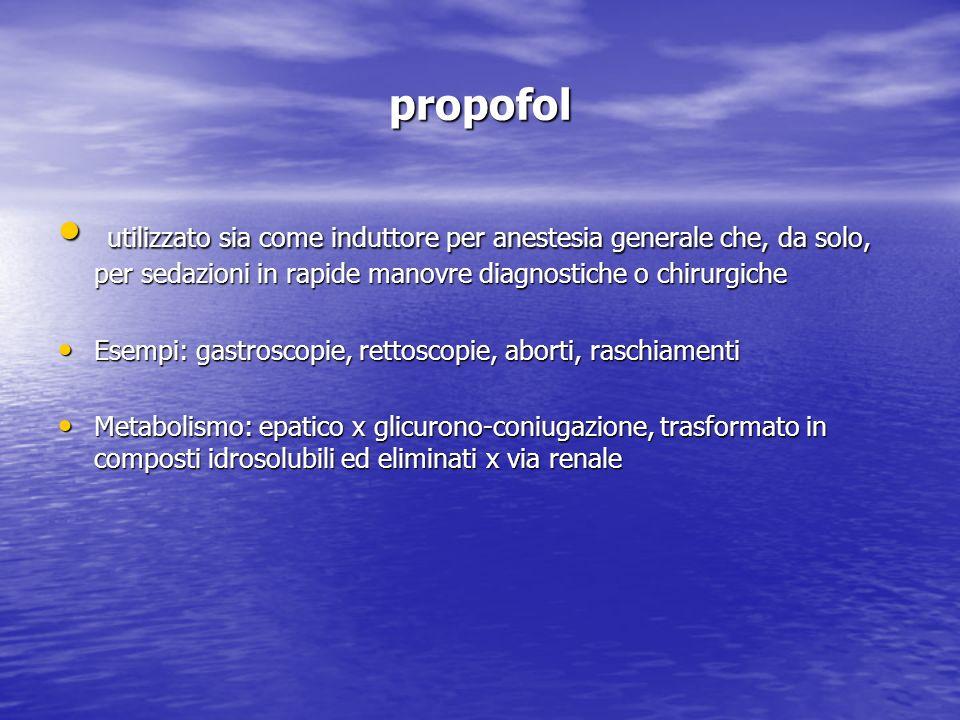 propofol utilizzato sia come induttore per anestesia generale che, da solo, per sedazioni in rapide manovre diagnostiche o chirurgiche utilizzato sia