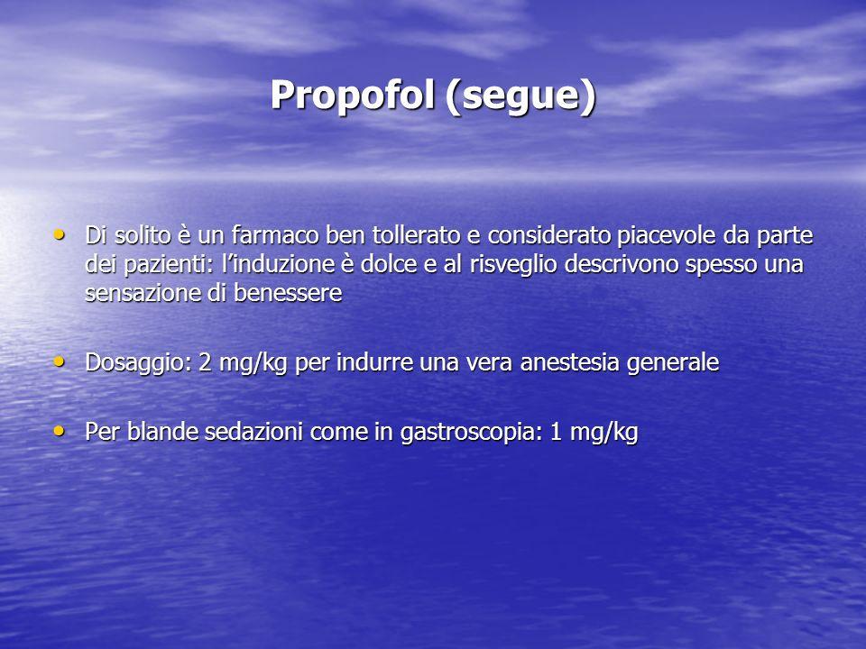 Propofol (segue) Di solito è un farmaco ben tollerato e considerato piacevole da parte dei pazienti: linduzione è dolce e al risveglio descrivono spes