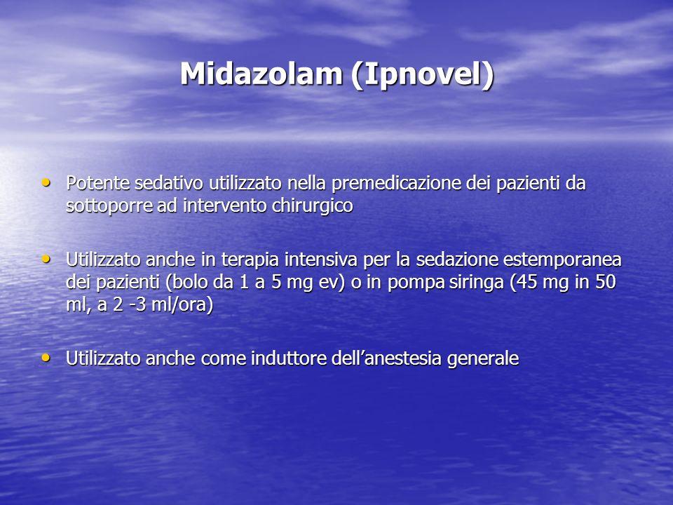 Midazolam (Ipnovel) Potente sedativo utilizzato nella premedicazione dei pazienti da sottoporre ad intervento chirurgico Potente sedativo utilizzato n