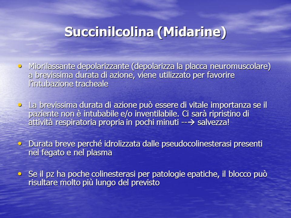 Succinilcolina (Midarine) Miorilassante depolarizzante (depolarizza la placca neuromuscolare) a brevissima durata di azione, viene utilizzato per favo