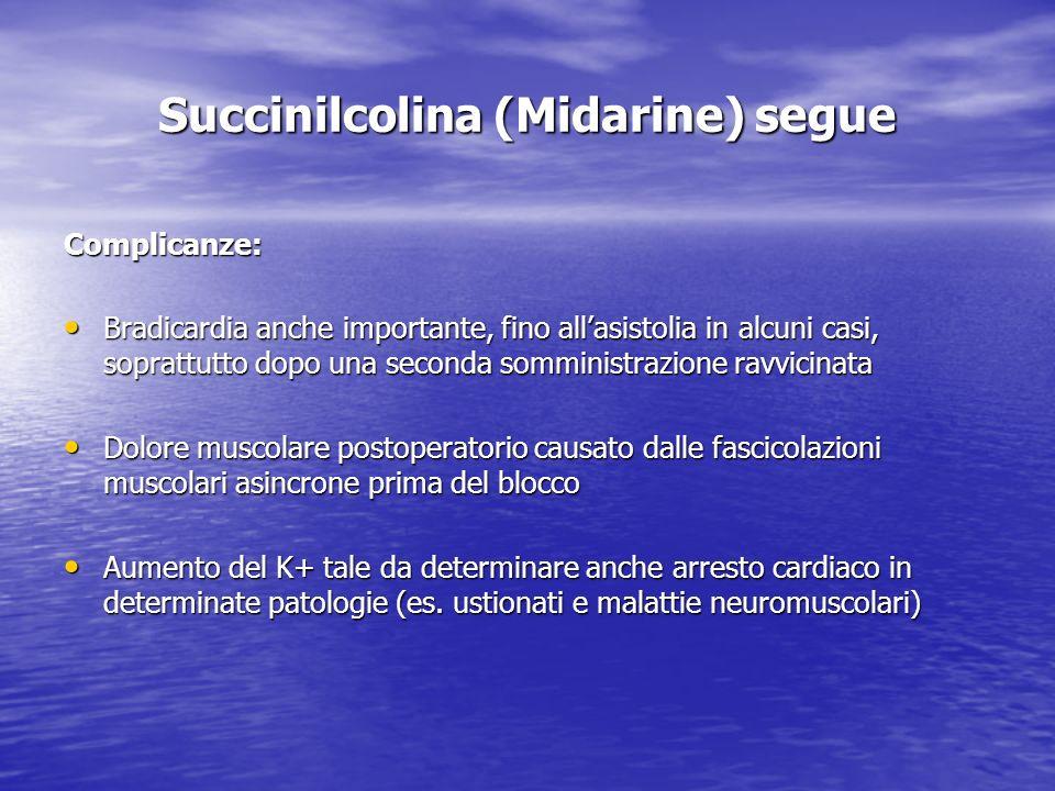 Succinilcolina (Midarine) segue Complicanze: Bradicardia anche importante, fino allasistolia in alcuni casi, soprattutto dopo una seconda somministraz