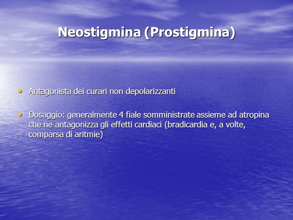 Neostigmina (Prostigmina) Antagonista dei curari non depolarizzanti Antagonista dei curari non depolarizzanti Dosaggio: generalmente 4 fiale somminist