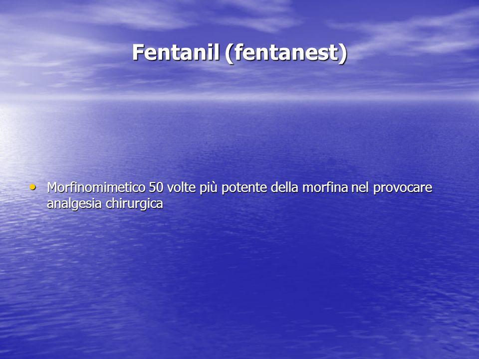 Fentanil (fentanest) Morfinomimetico 50 volte più potente della morfina nel provocare analgesia chirurgica Morfinomimetico 50 volte più potente della