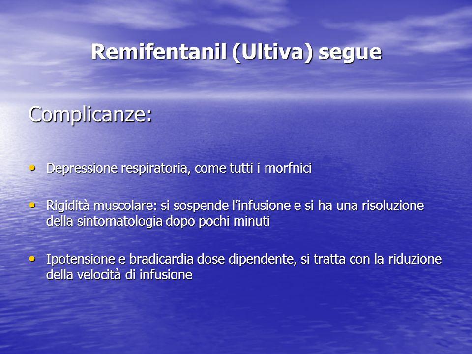 Remifentanil (Ultiva) segue Complicanze: Depressione respiratoria, come tutti i morfnici Depressione respiratoria, come tutti i morfnici Rigidità musc