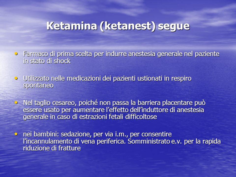 Ketamina (ketanest) segue Farmaco di prima scelta per indurre anestesia generale nel paziente in stato di shock Farmaco di prima scelta per indurre an