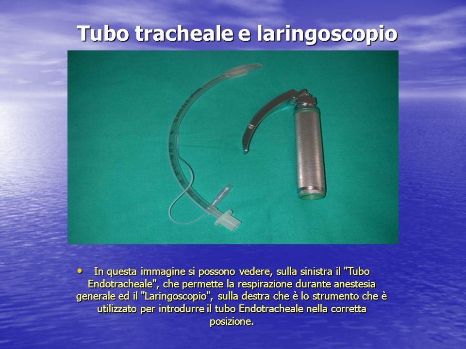 Tubo tracheale e laringoscopio In questa immagine si possono vedere, sulla sinistra il
