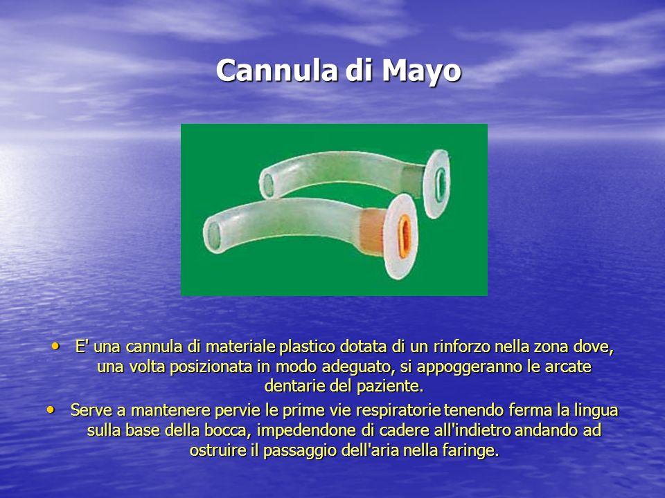 Cannula di Mayo E' una cannula di materiale plastico dotata di un rinforzo nella zona dove, una volta posizionata in modo adeguato, si appoggeranno le