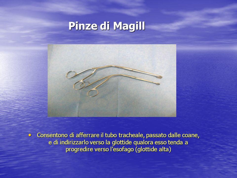 Pinze di Magill Consentono di afferrare il tubo tracheale, passato dalle coane, e di indirizzarlo verso la glottide qualora esso tenda a progredire ve