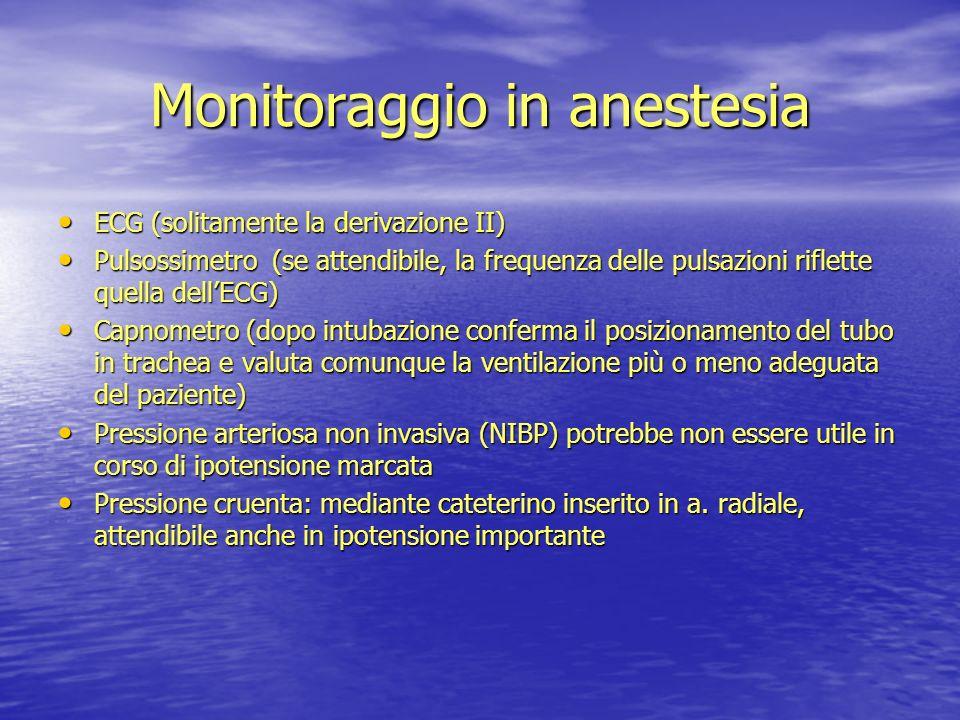 Monitoraggio in anestesia ECG (solitamente la derivazione II) ECG (solitamente la derivazione II) Pulsossimetro (se attendibile, la frequenza delle pu