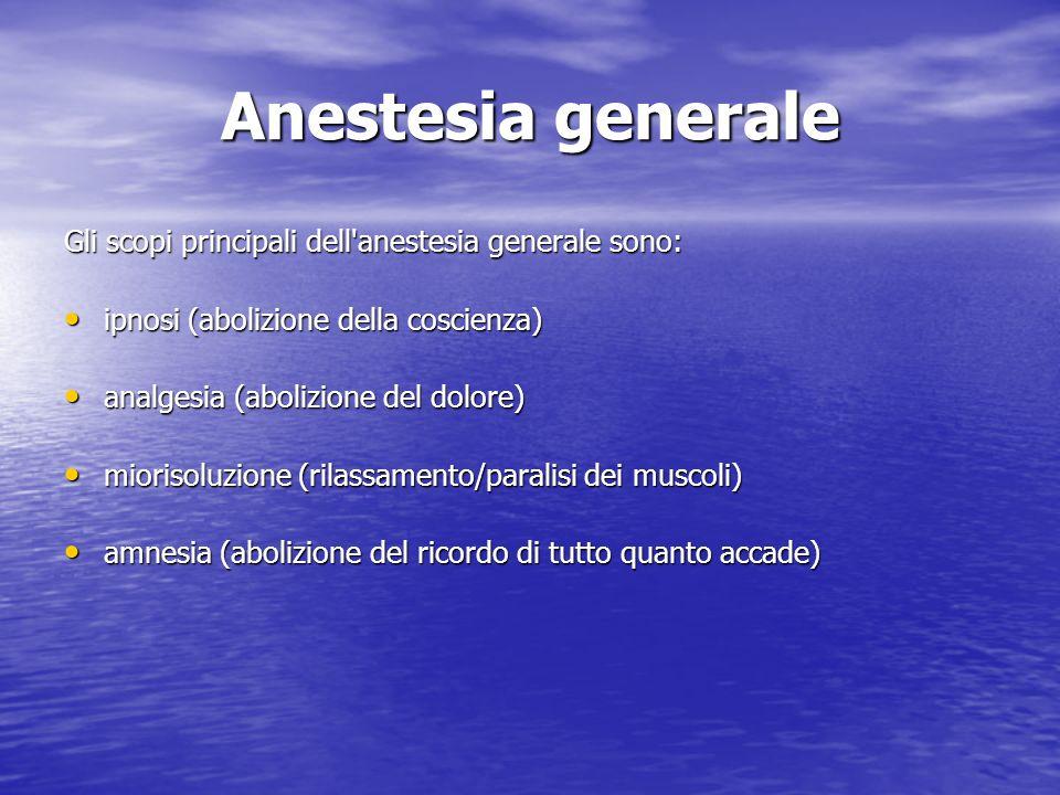 Anestesia generale Gli scopi principali dell'anestesia generale sono: ipnosi (abolizione della coscienza) ipnosi (abolizione della coscienza) analgesi