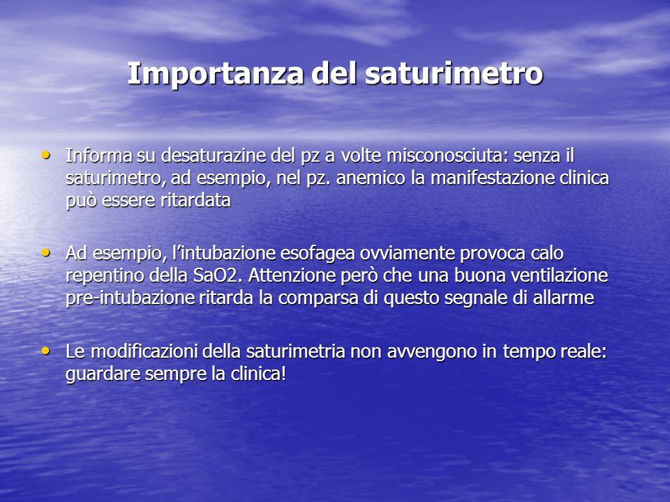 Importanza del saturimetro Informa su desaturazine del pz a volte misconosciuta: senza il saturimetro, ad esempio, nel pz. anemico la manifestazione c