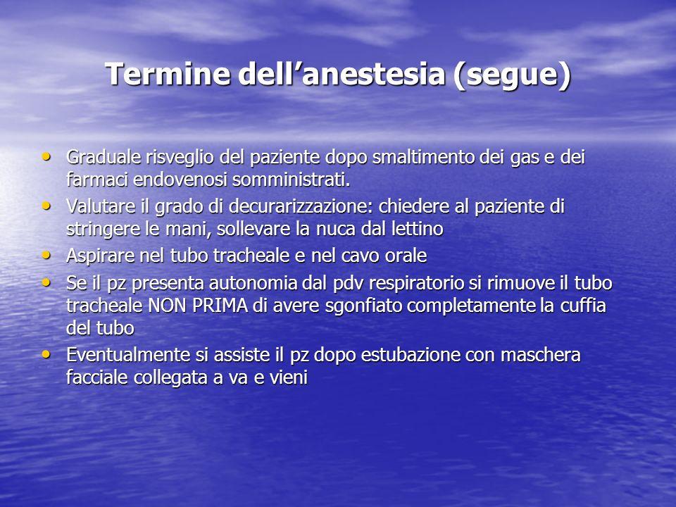 Termine dellanestesia (segue) Graduale risveglio del paziente dopo smaltimento dei gas e dei farmaci endovenosi somministrati. Graduale risveglio del