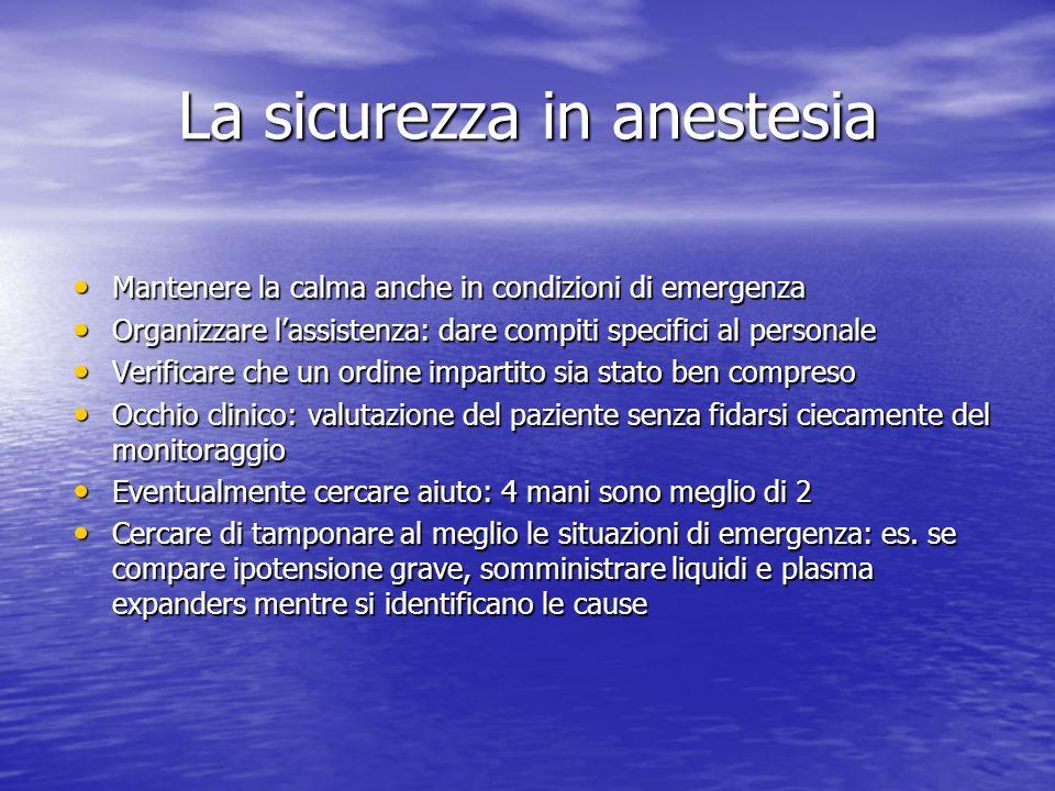 La sicurezza in anestesia Mantenere la calma anche in condizioni di emergenza Mantenere la calma anche in condizioni di emergenza Organizzare lassiste