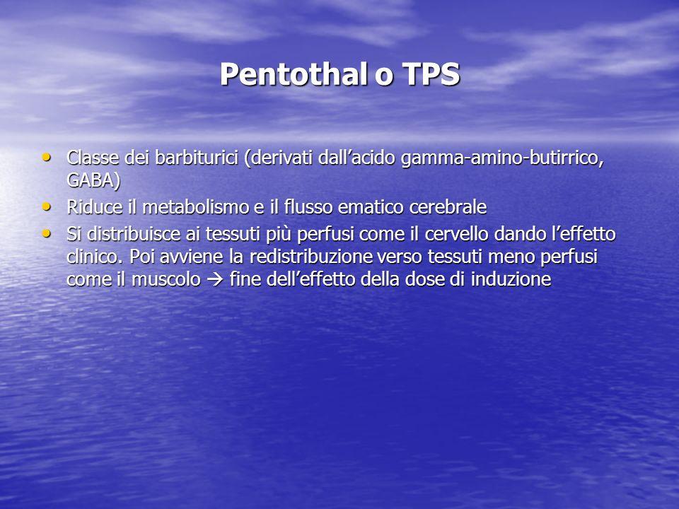 Pentothal o TPS (segue) Dose: 3-5 mg/Kg Dose: 3-5 mg/Kg Diluizione: 1 gr/40 ml di acqua per preparazioni iniettabili: 25 mg/ml Diluizione: 1 gr/40 ml di acqua per preparazioni iniettabili: 25 mg/ml Il farmaco si lega alle proteine plasmatiche.