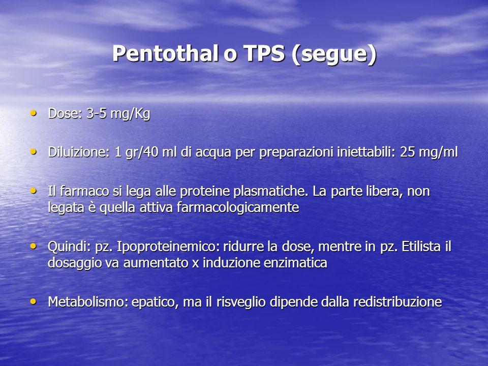 Pentothal o TPS (segue) Dose: 3-5 mg/Kg Dose: 3-5 mg/Kg Diluizione: 1 gr/40 ml di acqua per preparazioni iniettabili: 25 mg/ml Diluizione: 1 gr/40 ml