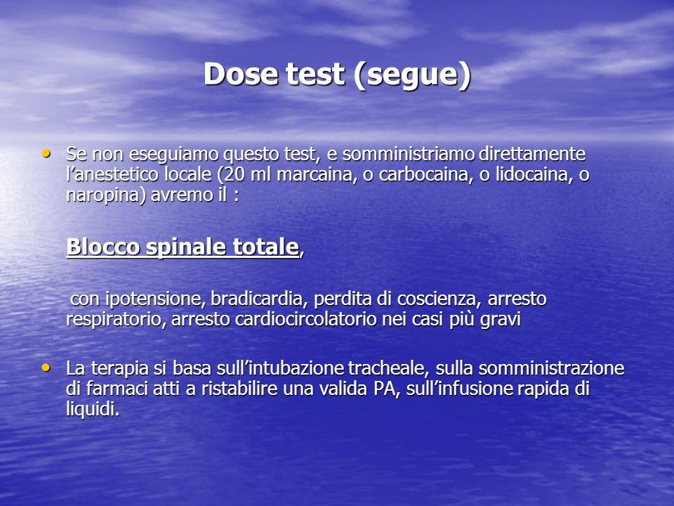 Dose test (segue) Se non eseguiamo questo test, e somministriamo direttamente lanestetico locale (20 ml marcaina, o carbocaina, o lidocaina, o naropin