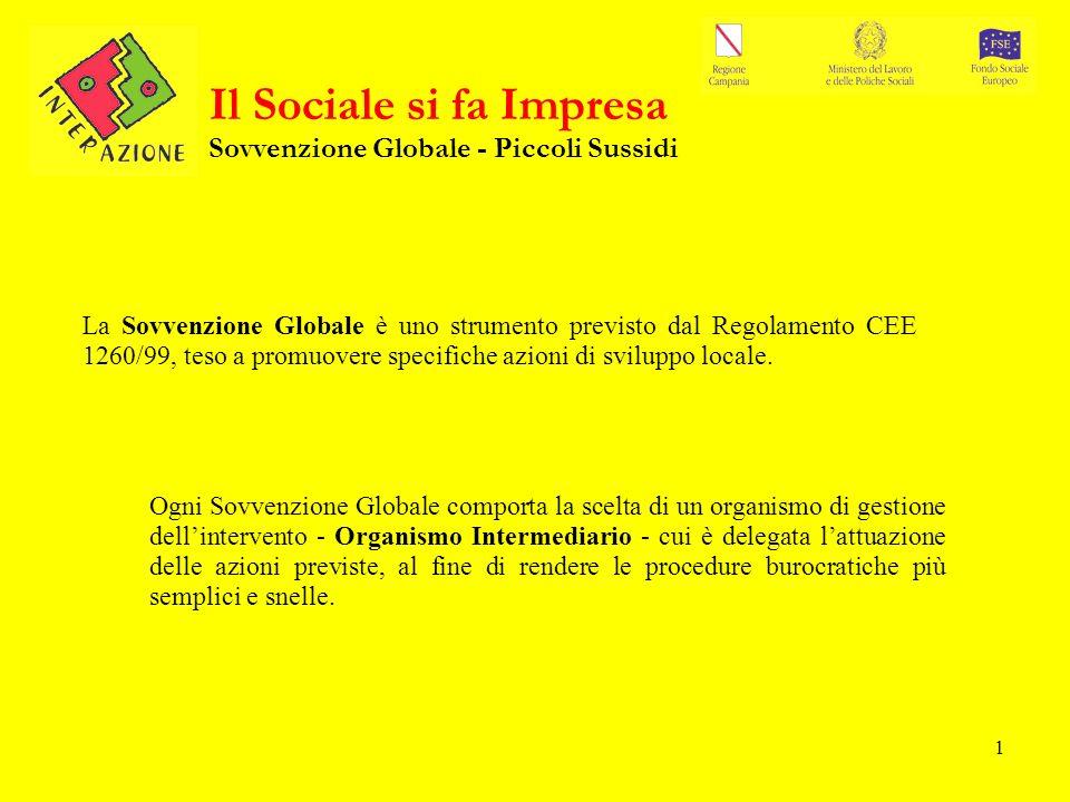 1 Il Sociale si fa Impresa Sovvenzione Globale - Piccoli Sussidi La Sovvenzione Globale è uno strumento previsto dal Regolamento CEE 1260/99, teso a promuovere specifiche azioni di sviluppo locale.