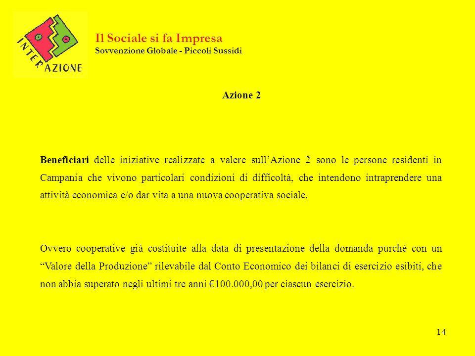 14 Azione 2 Beneficiari delle iniziative realizzate a valere sullAzione 2 sono le persone residenti in Campania che vivono particolari condizioni di difficoltà, che intendono intraprendere una attività economica e/o dar vita a una nuova cooperativa sociale.
