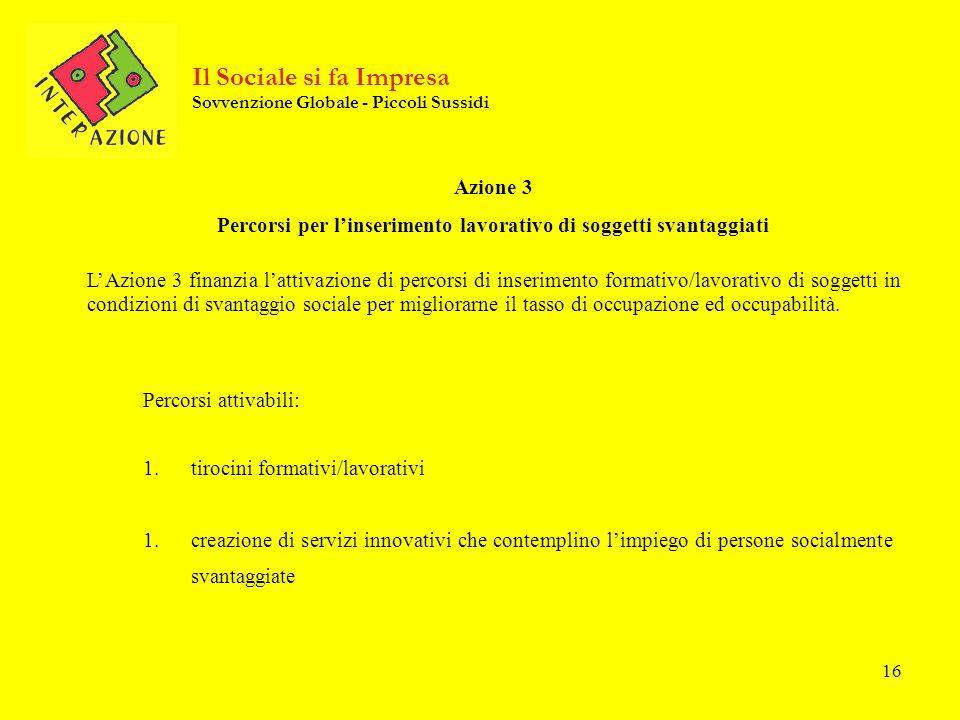 16 Azione 3 Percorsi per linserimento lavorativo di soggetti svantaggiati LAzione 3 finanzia lattivazione di percorsi di inserimento formativo/lavorat