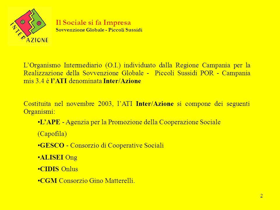 2 Il Sociale si fa Impresa Sovvenzione Globale - Piccoli Sussidi LOrganismo Intermediario (O.I.) individuato dalla Regione Campania per la Realizzazio