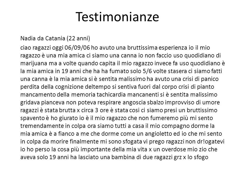 Testimonianze Nadia da Catania (22 anni) ciao ragazzi oggi 06/09/06 ho avuto una bruttissima esperienza io il mio ragazzo è una mia amica ci siamo una