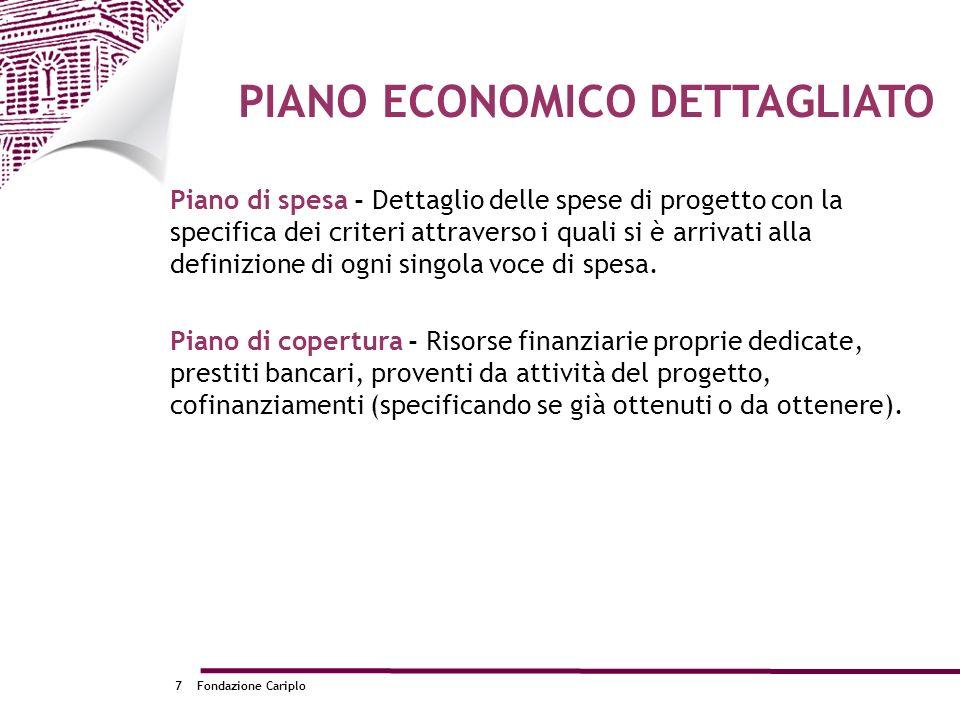 Fondazione Cariplo7 Piano di spesa - Dettaglio delle spese di progetto con la specifica dei criteri attraverso i quali si è arrivati alla definizione