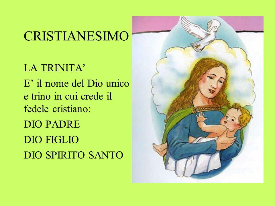 CRISTIANESIMO LA TRINITA E il nome del Dio unico e trino in cui crede il fedele cristiano: DIO PADRE DIO FIGLIO DIO SPIRITO SANTO
