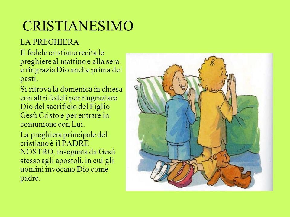CRISTIANESIMO LA PREGHIERA Il fedele cristiano recita le preghiere al mattino e alla sera e ringrazia Dio anche prima dei pasti.