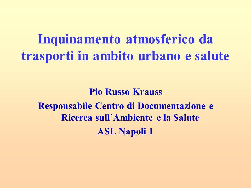 Inquinamento atmosferico da trasporti in ambito urbano e salute Pio Russo Krauss Responsabile Centro di Documentazione e Ricerca sull´Ambiente e la Salute ASL Napoli 1