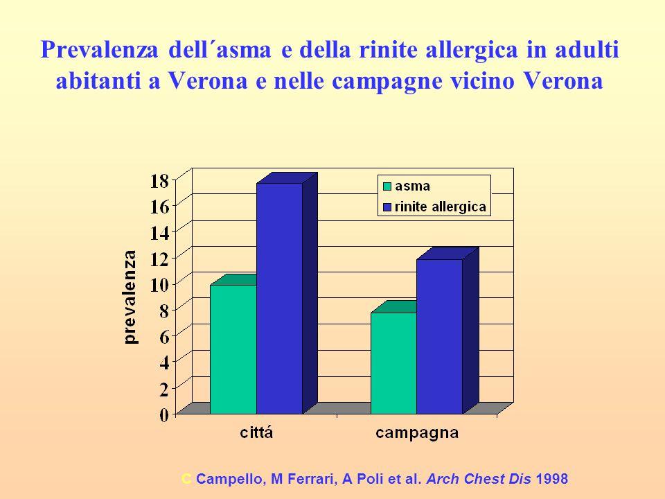 Prevalenza dell´asma e della rinite allergica in adulti abitanti a Verona e nelle campagne vicino Verona C Campello, M Ferrari, A Poli et al. Arch Che