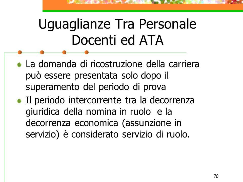 69 Differenze tra personale docente ed ATA Personale Docente Al personale docente si valutano esclusivamente i servizi dinsegnamento prestato nelle sc