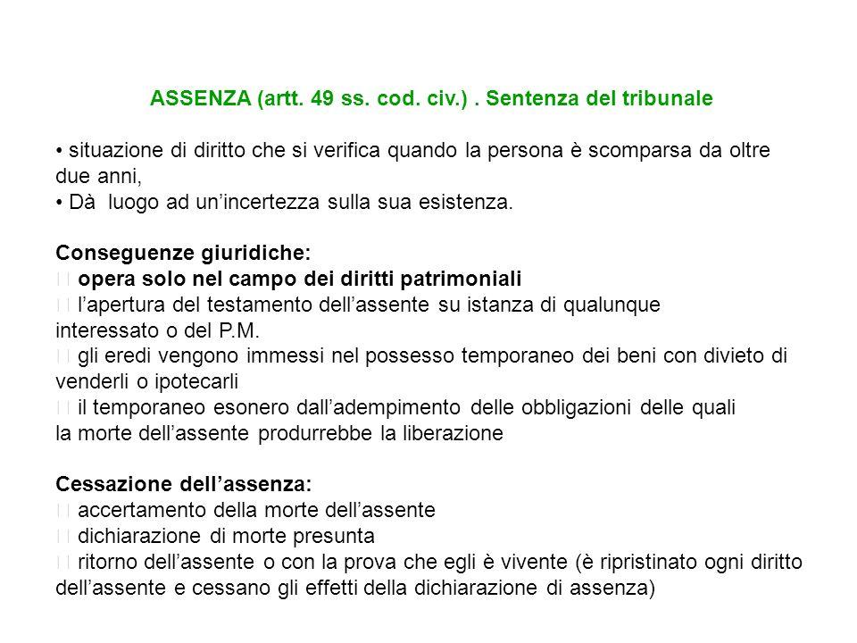 MORTE PRESUNTA (artt.58 ss cod.