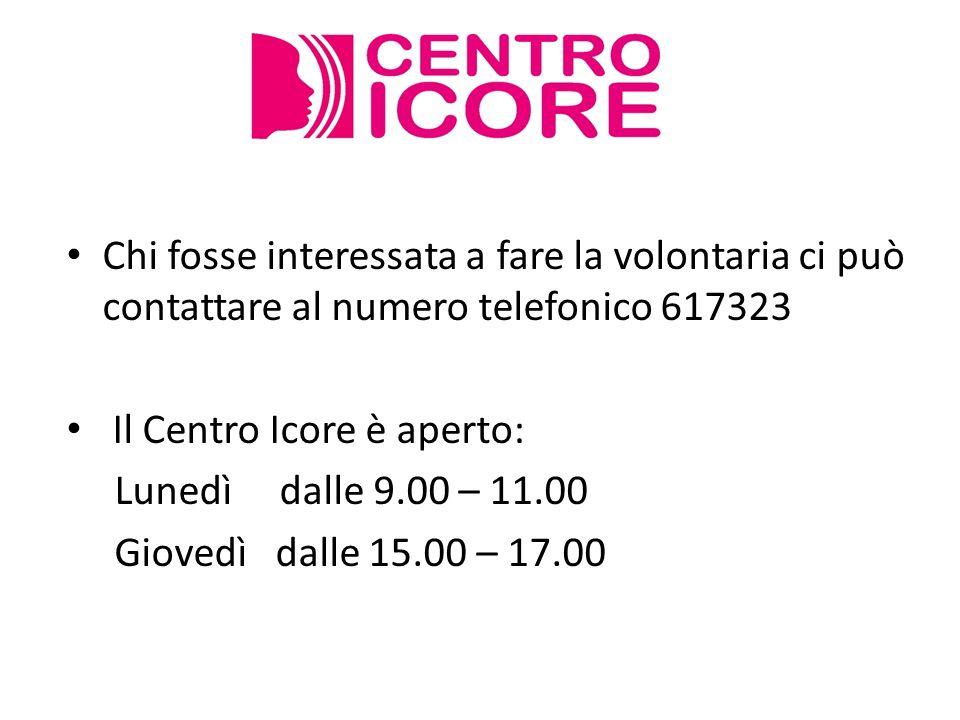Chi fosse interessata a fare la volontaria ci può contattare al numero telefonico 617323 Il Centro Icore è aperto: Lunedì dalle 9.00 – 11.00 Giovedì d