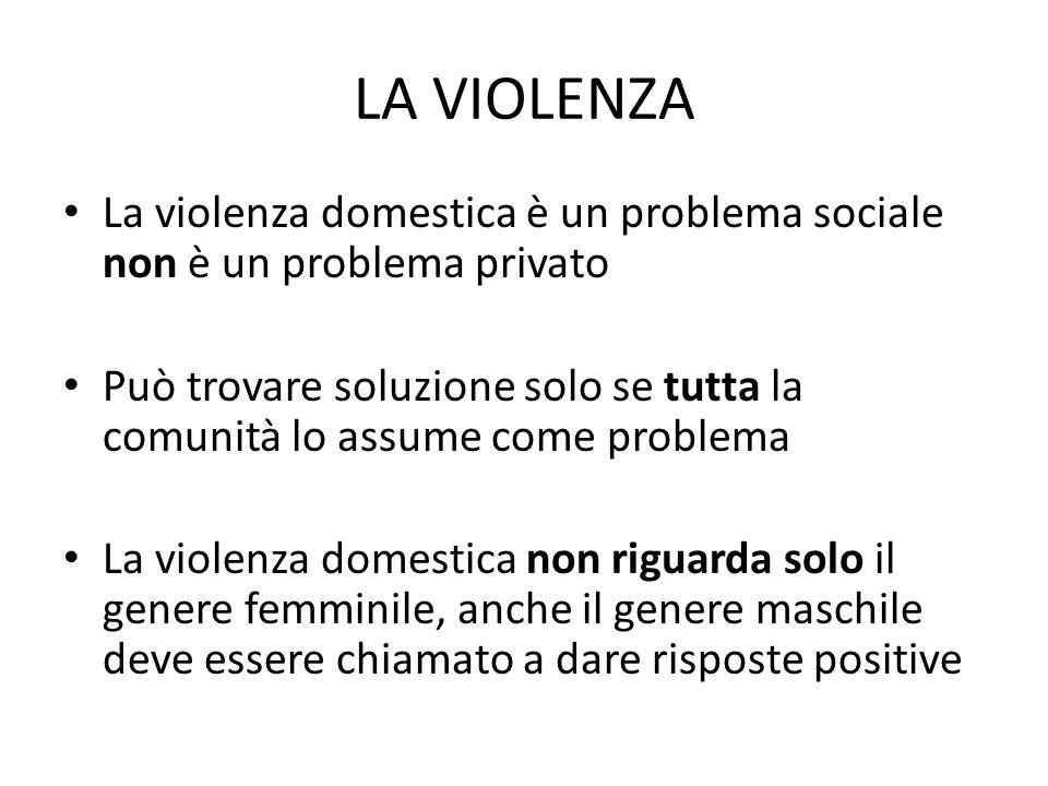 LA VIOLENZA La violenza domestica è un problema sociale non è un problema privato Può trovare soluzione solo se tutta la comunità lo assume come probl