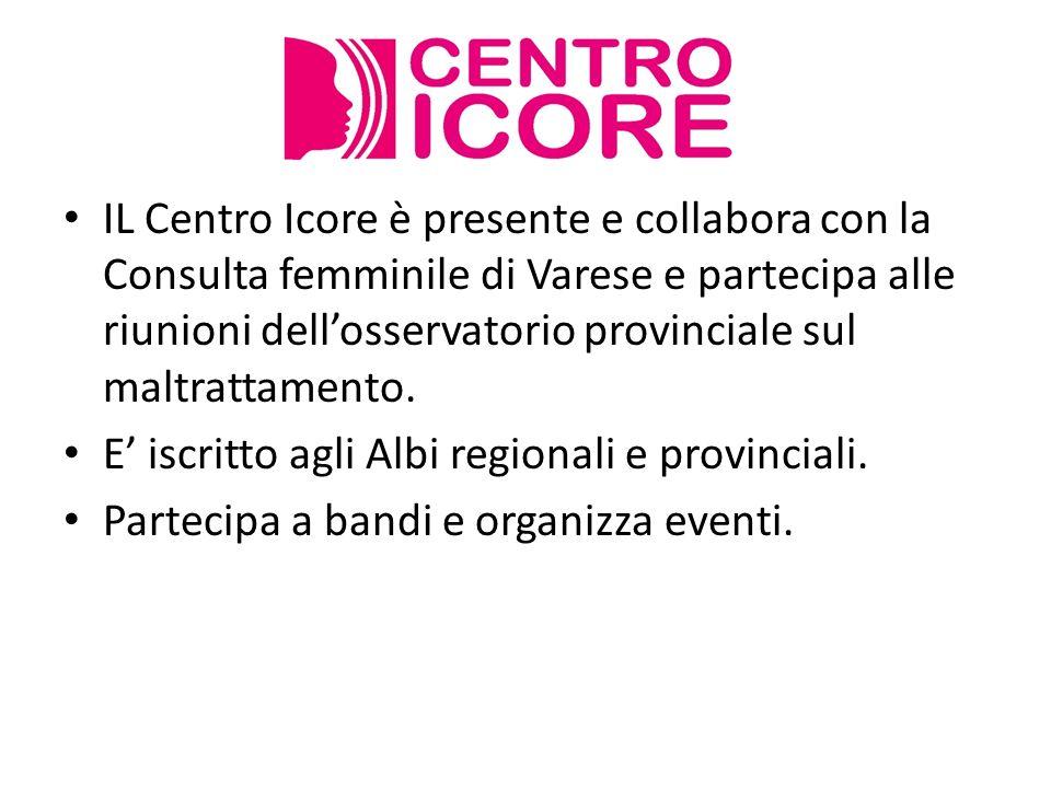 IL Centro Icore è presente e collabora con la Consulta femminile di Varese e partecipa alle riunioni dellosservatorio provinciale sul maltrattamento.