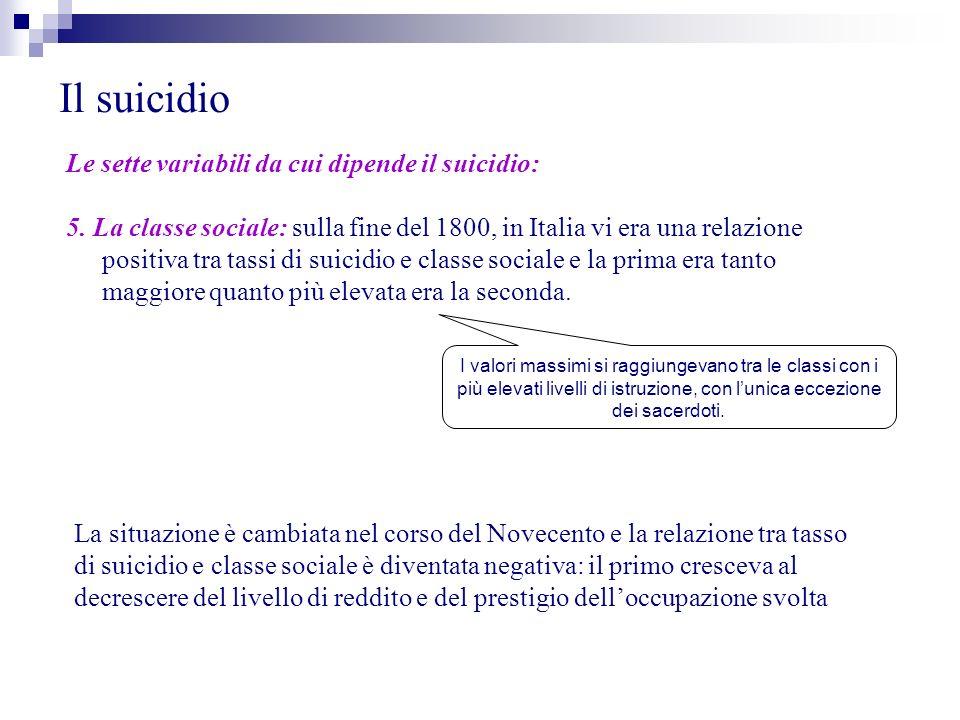 Il suicidio Le sette variabili da cui dipende il suicidio: 5. La classe sociale: sulla fine del 1800, in Italia vi era una relazione positiva tra tass