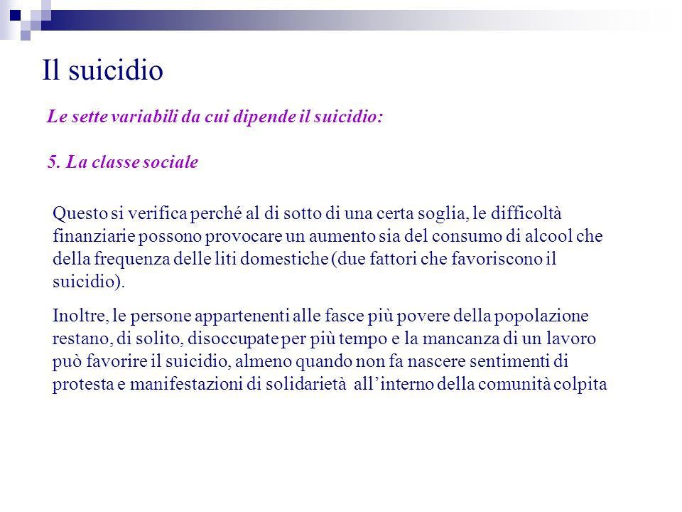 Il suicidio Le sette variabili da cui dipende il suicidio: 5. La classe sociale Questo si verifica perché al di sotto di una certa soglia, le difficol