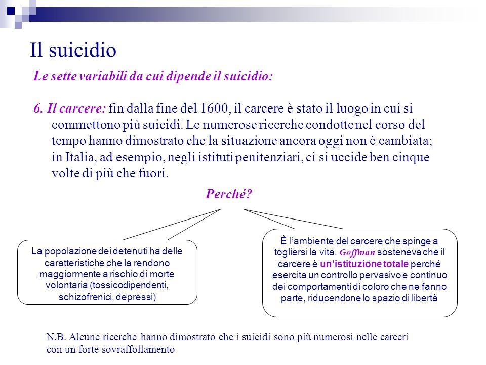 Il suicidio Le sette variabili da cui dipende il suicidio: 6. Il carcere: fin dalla fine del 1600, il carcere è stato il luogo in cui si commettono pi
