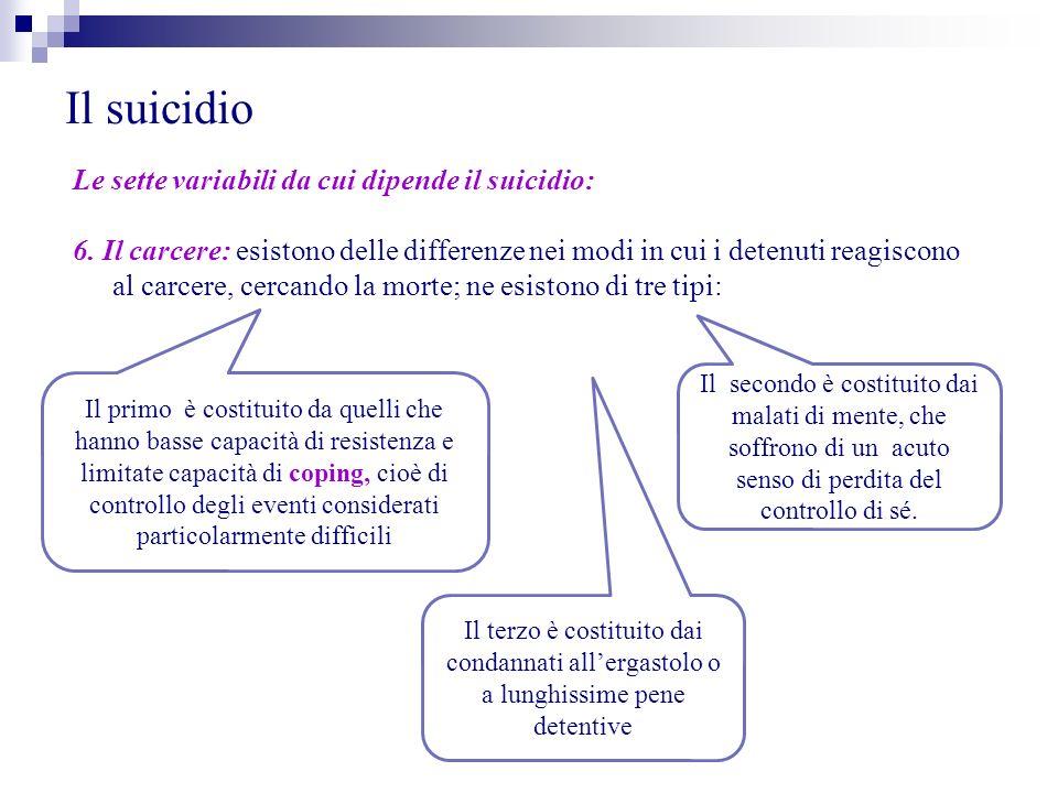 Il suicidio Le sette variabili da cui dipende il suicidio: 6. Il carcere: esistono delle differenze nei modi in cui i detenuti reagiscono al carcere,