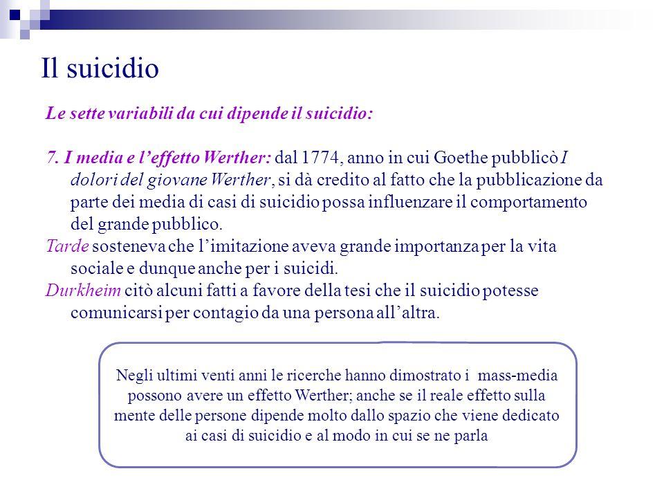 Il suicidio Le sette variabili da cui dipende il suicidio: 7. I media e leffetto Werther: dal 1774, anno in cui Goethe pubblicò I dolori del giovane W