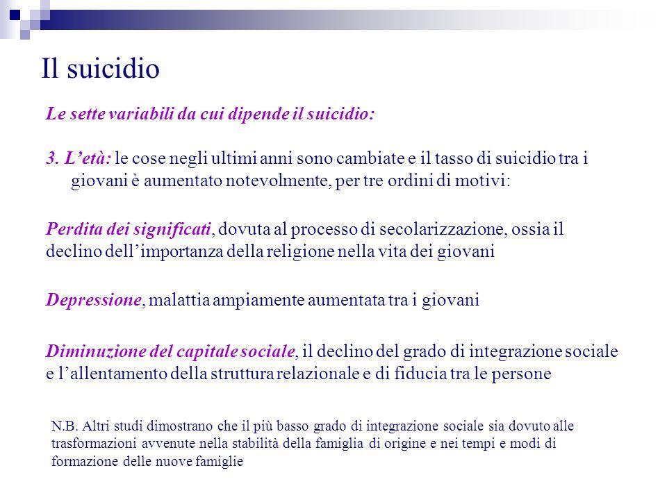Il suicidio Le sette variabili da cui dipende il suicidio: 4.