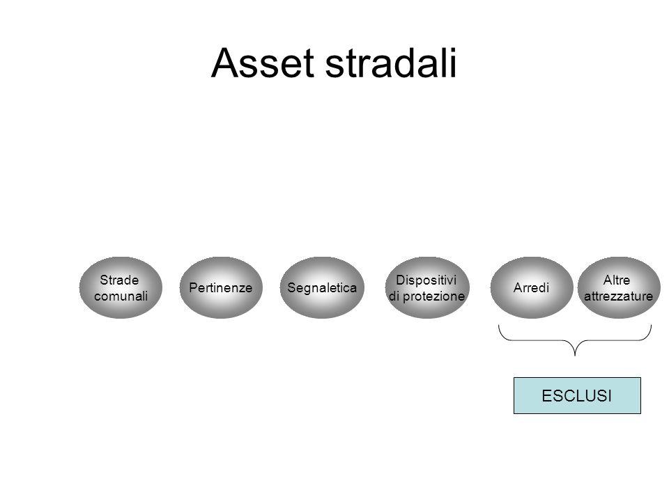 Asset stradali Strade comunali PertinenzeSegnaletica Dispositivi di protezione Arredi Altre attrezzature ESCLUSI