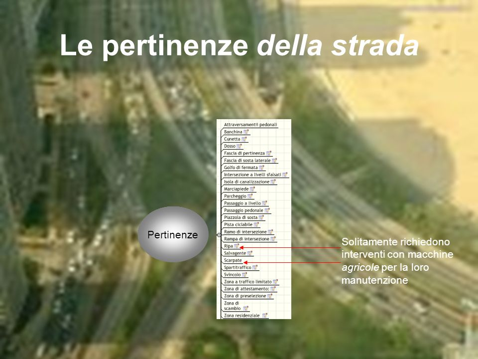 Le pertinenze della strada Pertinenze Solitamente richiedono interventi con macchine agricole per la loro manutenzione